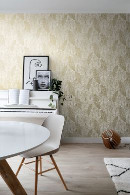 living room wallpaper pen drawn leaves white and gold 139125
