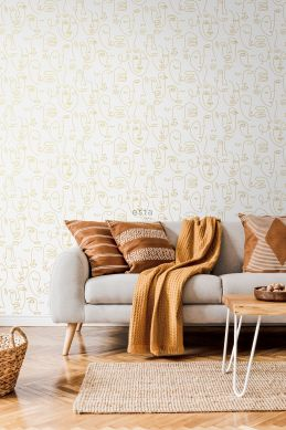 living room wallpaper faces white and light shiny gold 139146