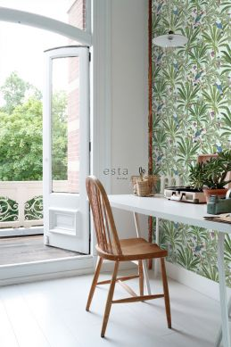 home office wallpaper tropical jungle leaves mint green and jungle green 139189