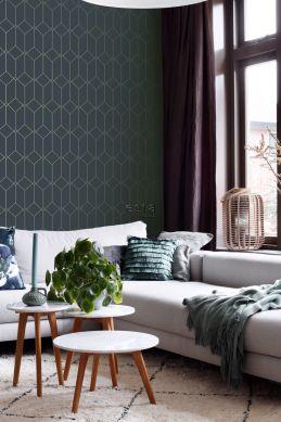 living room wallpaper art deco motif dark blue and gold 139225
