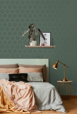bedroom wallpaper honeycomb motif dark green and gold 139228