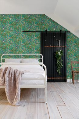 bedroom wallpaper tropical jungle leaves and birds of paradise teal and jungle green 139233
