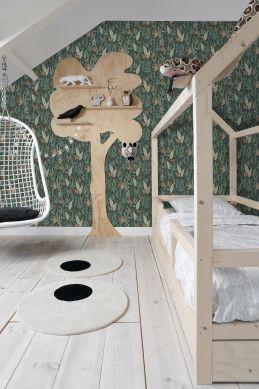 children bedroom wallpaper monkeys dark green 139234