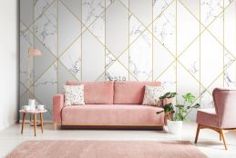 wall mural marble black and white, gray and gold
