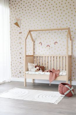 wallpaper dots soft pink and gold