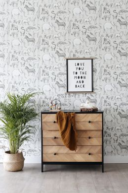 wallpaper jungle animals beige and gray