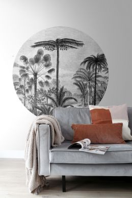 living room self-adhesive round wall mural tropical landscape with palm trees  black and white 159006