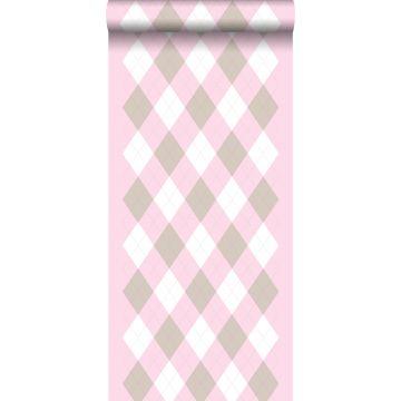 wallpaper rhombus motif baby pink