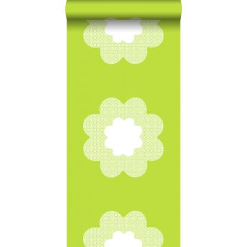 wallpaper lace flowers lime green