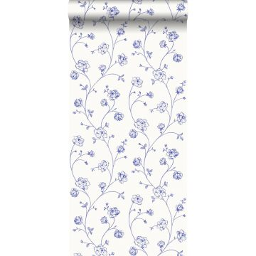 wallpaper toile de Jouy roses blue