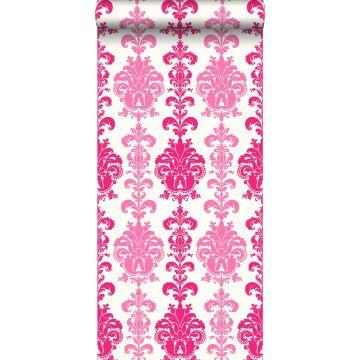 wallpaper baroque print pink
