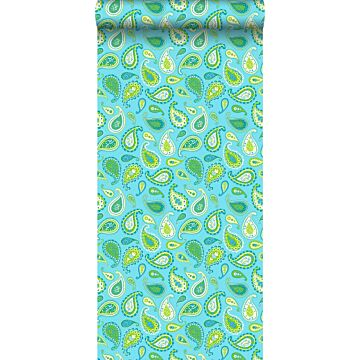 wallpaper paisleys turquoise and lime green