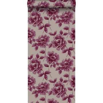 wallpaper watercolor painted roses eggplant purple and taupe