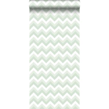 wallpaper zigzag motif mint green and white