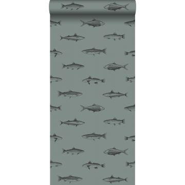 wallpaper pen drawing fish grayish green and black