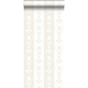 wallpaper baroque print white and silver