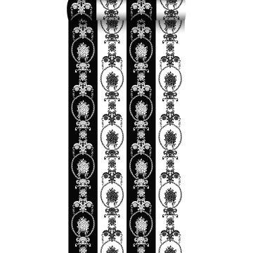 wallpaper baroque print black and white