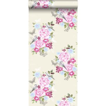wallpaper flowers and birds pastels