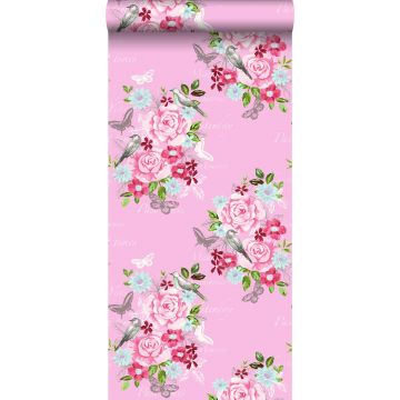 wallpaper flowers and birds pink