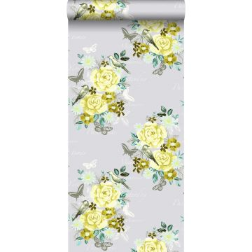 wallpaper flowers and birds yellow