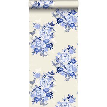 wallpaper flowers and birds indigo blue