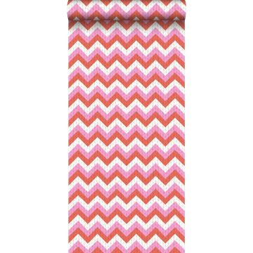 wallpaper zigzag motif coral red and pink