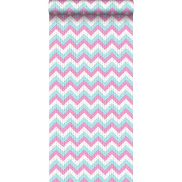 wallpaper zigzag motif turquoise and pink