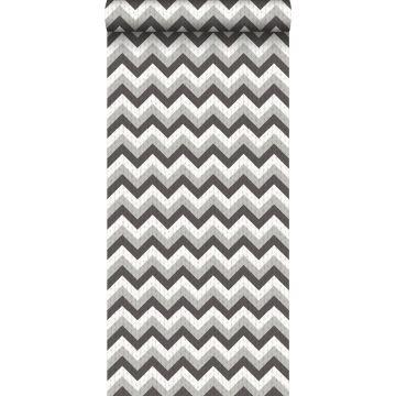 wallpaper zigzag motif black and gray