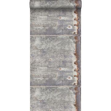 wallpaper metal plates light gray and rust brown