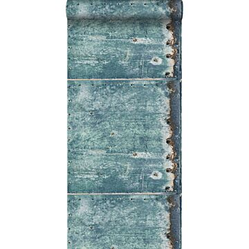 wallpaper metal plates turquoise and rust brown