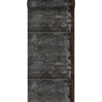 wallpaper metal plates black and rust brown