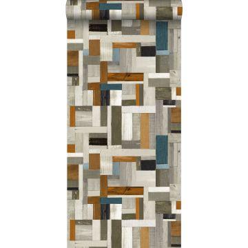 wallpaper scrap wood gray, brown and greyish blue