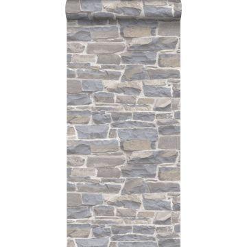 wallpaper brick wall light gray and beige