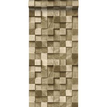 wallpaper 3D wood effect cervine