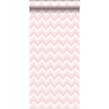 wallpaper zigzag motif light pink and white