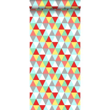 wallpaper triangles red, yellow and blue