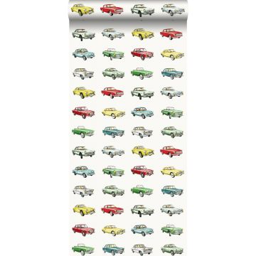 wallpaper vintage cars red, yellow and green