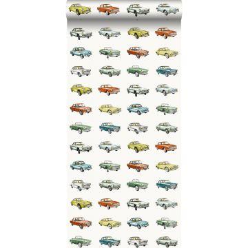 wallpaper vintage cars orange, mustard and green