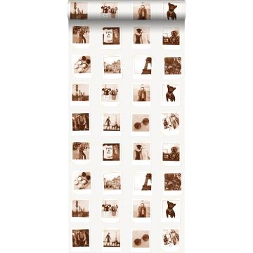wallpaper polaroid pictures sepia brown and light beige