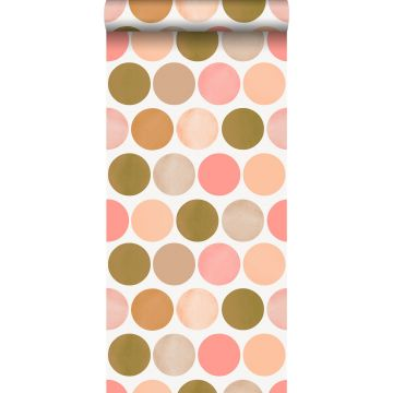 wallpaper large dots peach pink