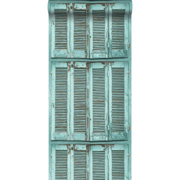 wallpaper weathered wooden French vintage louvre shutters grayish turquoise
