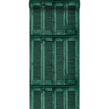 wallpaper weathered wooden French vintage louvre shutters emerald green