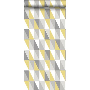 wallpaper graphical triangles mustard and gray
