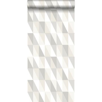wallpaper graphical triangles silver, gray and beige