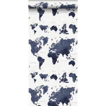 wallpaper vintage world maps dark blue
