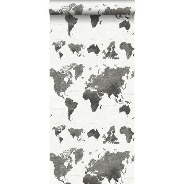 wallpaper vintage world maps dark gray