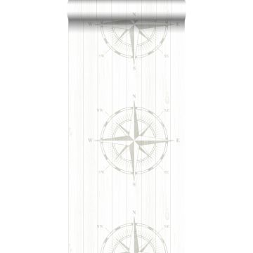 wallpaper compass rose on scrap wood silver and white
