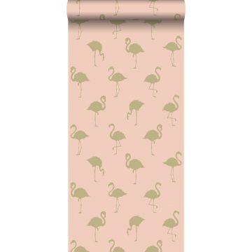 wallpaper flamingos gold and peach pink
