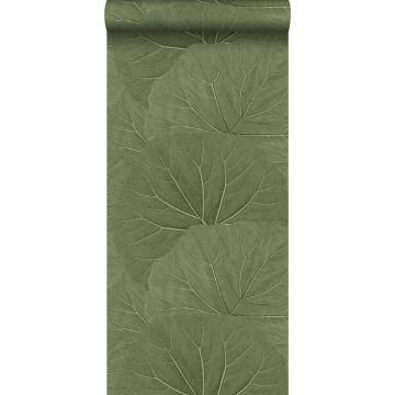wallpaper large leaves greyed olive green