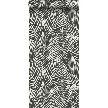 wallpaper palm leaves black and white